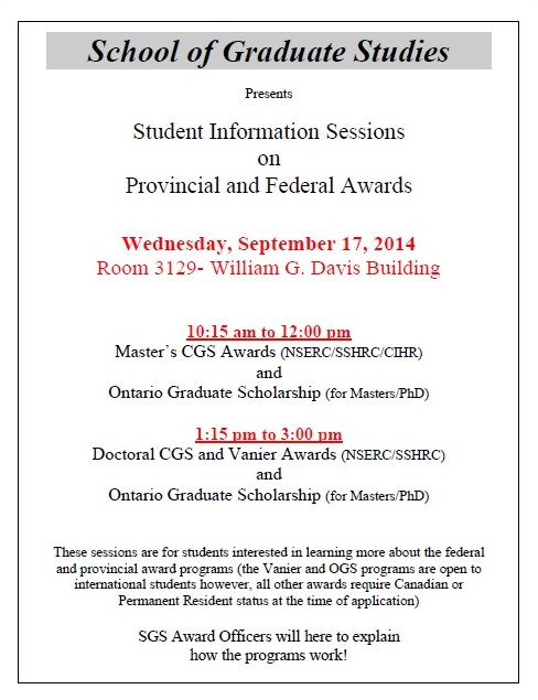 NSERC SSHRC OGS Awards
