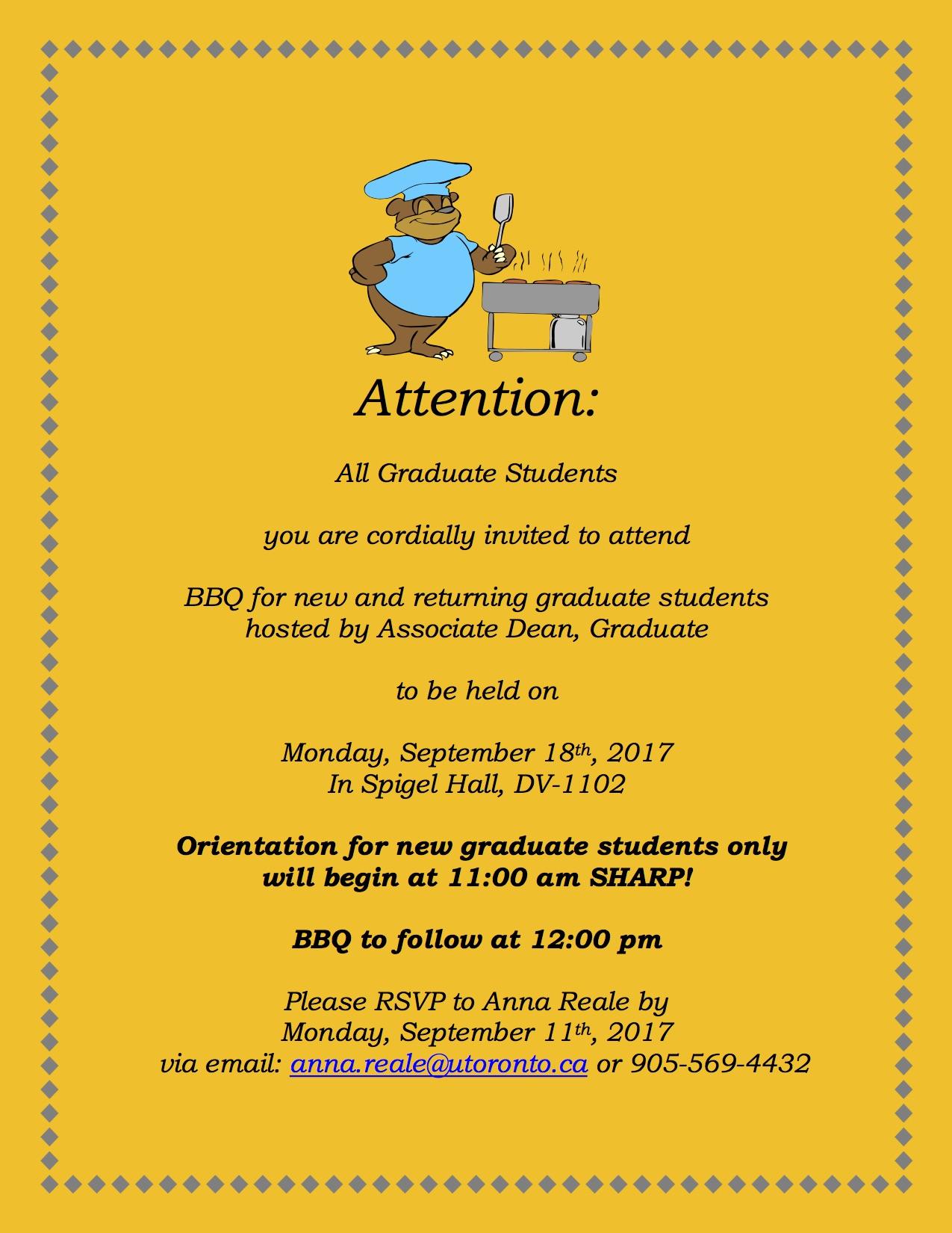 Orientation & BBQ - Sept. 18, 2017