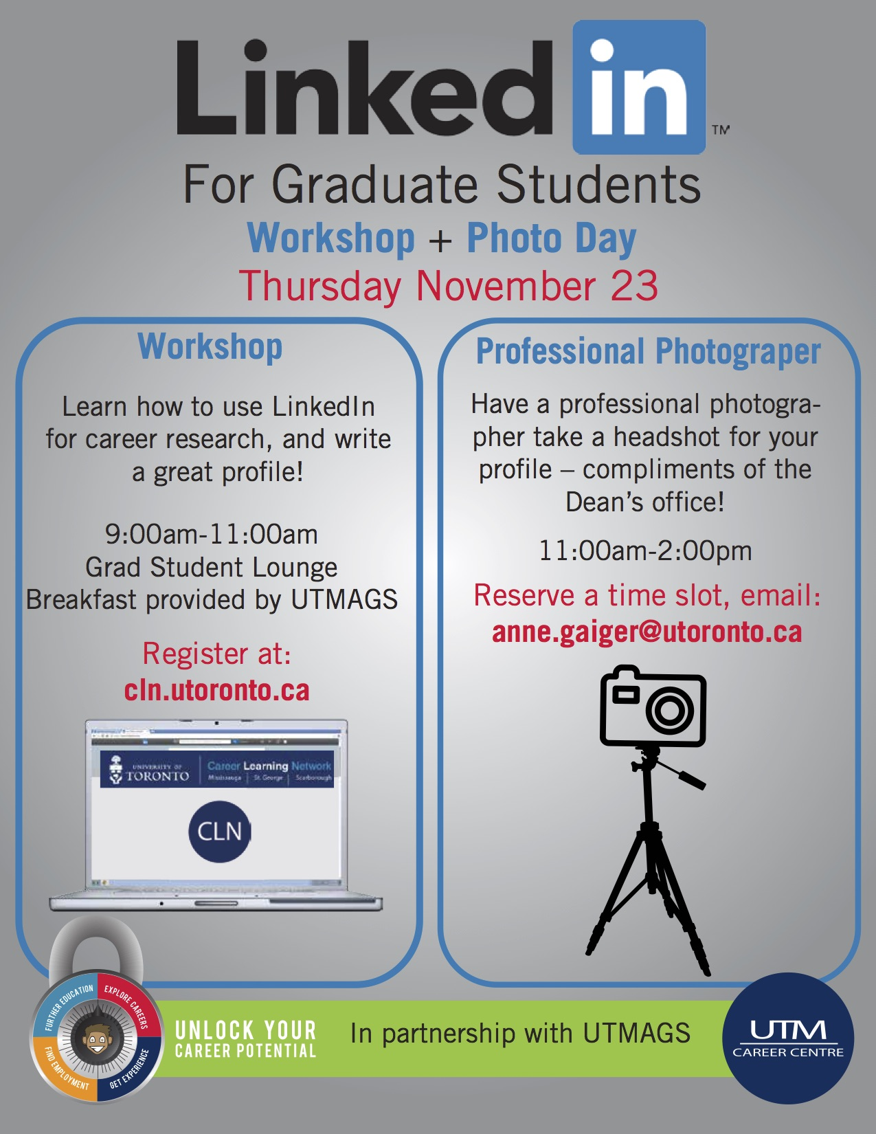 LinkedIn Workshop for Graduate Students Nov. 23